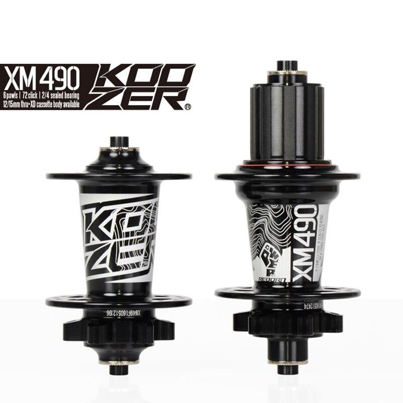 Koozer XM490 ensemble de moyeu avant arrière 2/4 roulements 32 trous dégagement rapide à travers l'essieu ultra-léger 640 g/paire 120 moyeux de VTT clic - 3
