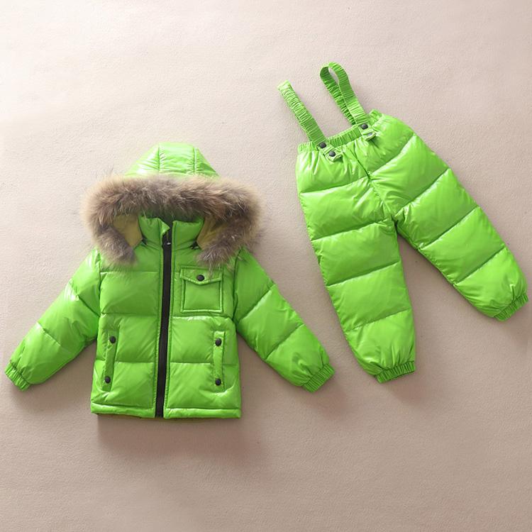 Russia Winter Children Down Jacket Clothing Sets Girls Ski Suit Set Sport Boys Jumpsuit Snow Jackets/coats+ Bib pants 2Pcs Set