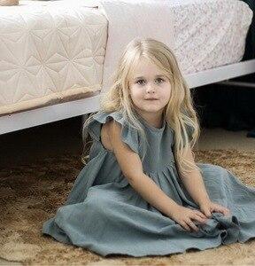 Image 5 - קמעונאות בנות שמלת תינוק בגדי קיץ לבן ירוק התלקחות שרוול לפרוע יפה ילדים שמלות בנות E19074
