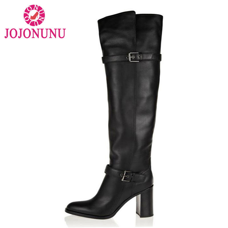 JOJONUNU Size 31-45 Women Real Genuine Leather High Heel Boots Over Knee Long Botas Buckle Pointed Toe Footwear Heels Shoes new 7 inch for samsung galaxy tab 3 t210 sm t210 tab3 lcd touch screen lens glass outer front panel free shipping