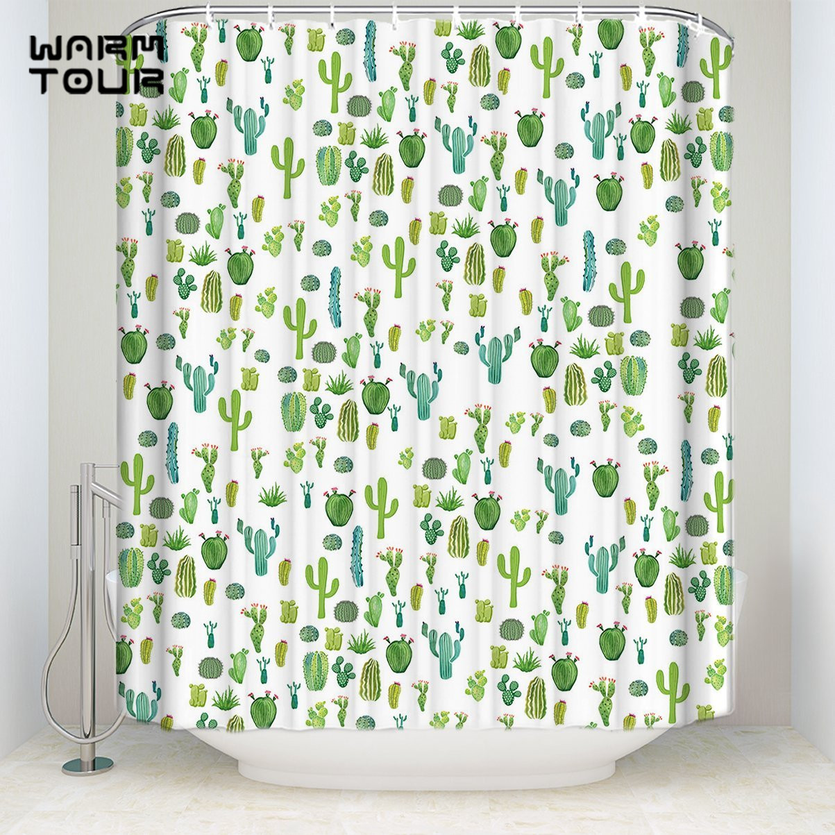 Us 16 23 30 Off Extra Long Fabric Bath Shower Curtains 36 X 78 Inches Funny Tropical Cactus Mildew Resistant Bathroom Decor Sets With Hooks In