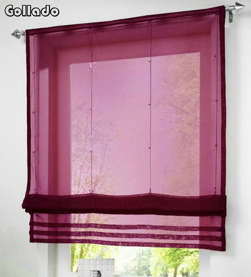 Curtain For Balcony: RU Popular Solid Color Sheer Voile Roman Blinds Curtain