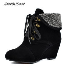 JIANBUDAN Brand large size winter womens warm boots Fashion Wedge Lace-Up Snow Boots High quality suede female