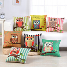 45x45cm Cartoon Pillowcase Home Owl Printed Throw Pillow Case Sofa Seat Living Room Decorative  Cushion Cover smile expression double side print cushion cover polyester decorative for sofa seat soft throw pillow case cover 45x45cm