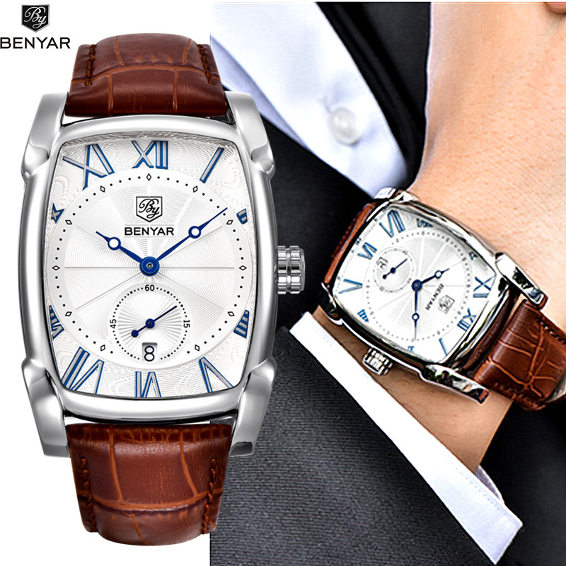 Benyar 2017 luxury brand quartz mens watches brand men military leather men sports watch hour for Celebrity watches male 2017