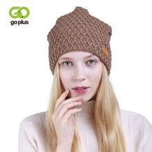 GOPLUS 2019 Winter Knitted Hat Women Fashion Plaid Flocking Brand Girl Hip Hop Skullies Beanie Thick Cotton Warm Caps Female