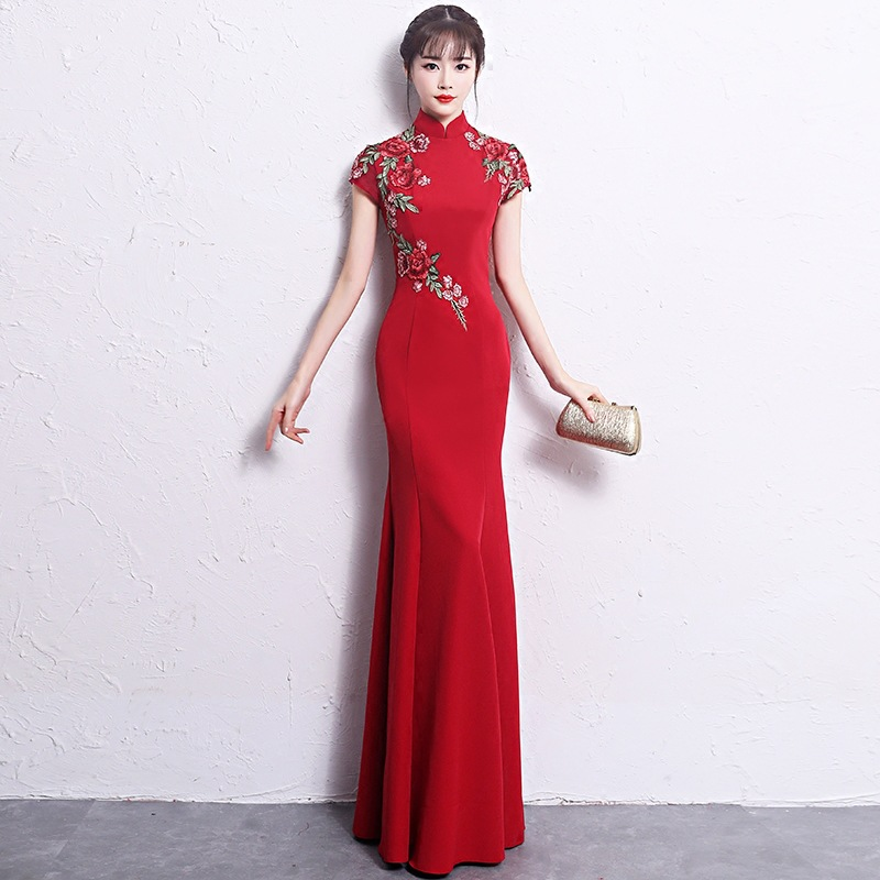 2019 New Slim Ladies Evening Party Mermaid Dress Elegant Floral Chinese Bride Wedding Qipao Vintage Short