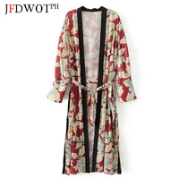 Women Vintage Ethnic Flower Printed Long Kimono Shirt 2017 New Fashion V Neck Belt Patchwork Cardigan