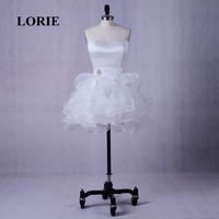 LORIE Short Homecoming Dress Sweetheart Ruffles Organza Mini Prom Dress for Graduation Lace Up White Cocktail Gown Wedding Dress