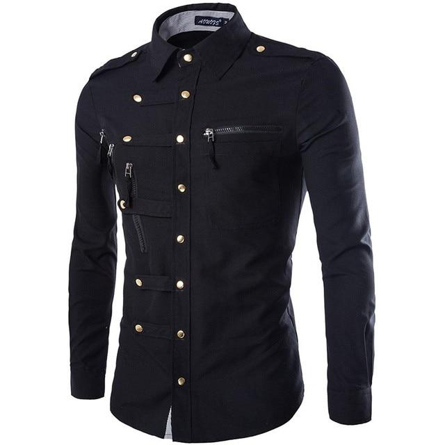 Новое поступление весна/осень Для мужчин с длинным рукавом грузовой рубашка Повседневное Slim Fit Мода Epaulet двойной карман мужская одежда рубашка M, L XL, XXL