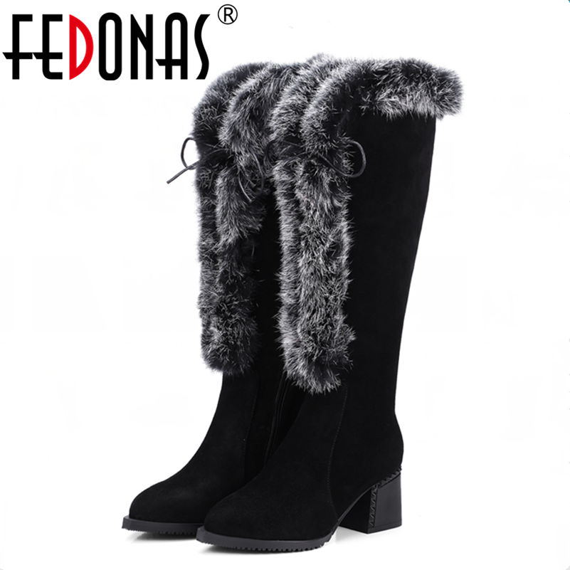 FEDONAS New Women Boots Thigh High Winter Boots Women Genuine Leather Rabbit Fur Warm Snow Boots Sexy Long Boots Shoes Woman