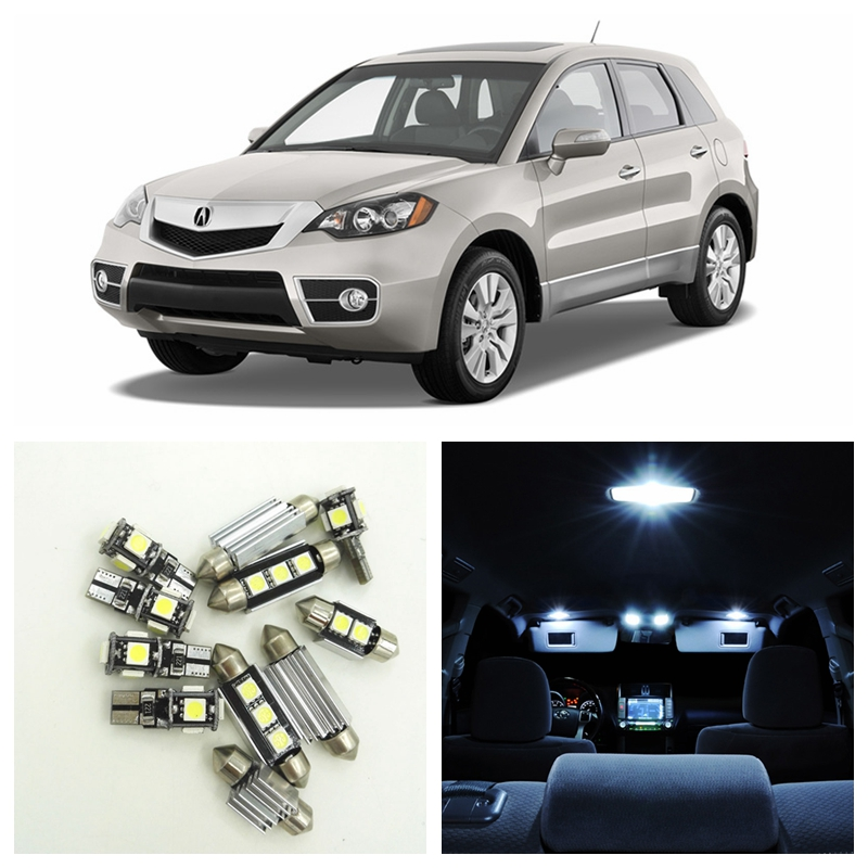10pcs White LED Car Light Bulbs Interior Package Kit For 2007 2008 2009 2010 2011 2012 Acura RDX Dome Trunk Step Courtesy Lamp car rear trunk security shield cargo cover for jeep compass 2007 2008 2009 2010 2011 high qualit auto accessories