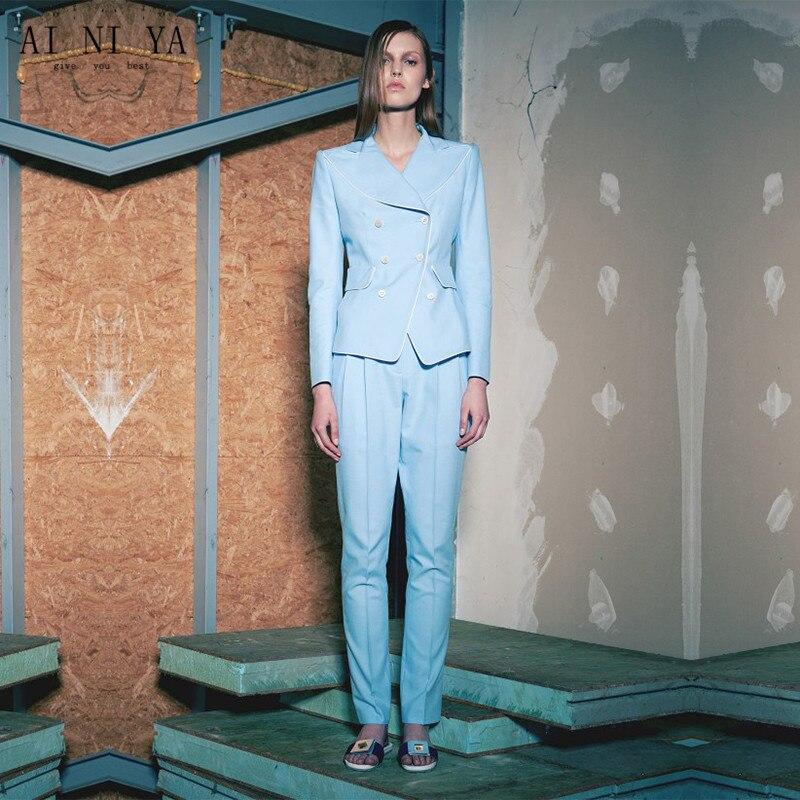 Light Sky Blue Womens Business Suits Slim Ladies Elegant Pants Suit Formal OL Long Sleeve Female Office Unifrom Trouser Suit