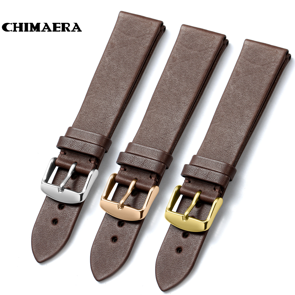 CHIMAERA 18mm 19mm <font><b>20mm</b></font> 22mm Coffee <font><b>Watchband</b></font> France calf leather Watch band Strap with Pin buckle For Breitling Casio <font><b>Seiko</b></font> image