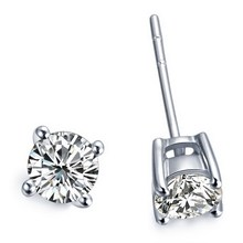 Luxury 1CT/Piece Round Synthetic Diamonds Earrings pendant for women girl's love best stud earrings white gold Cover