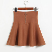 Autumn and winter new wild solid color high waist zipper knit skirt skirts a word knitting female # 8208