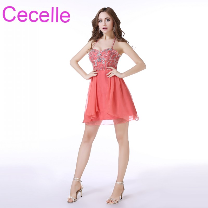 Aliexpress Buy Coral Short Cocktail Dresses 2018 Halter Beaded