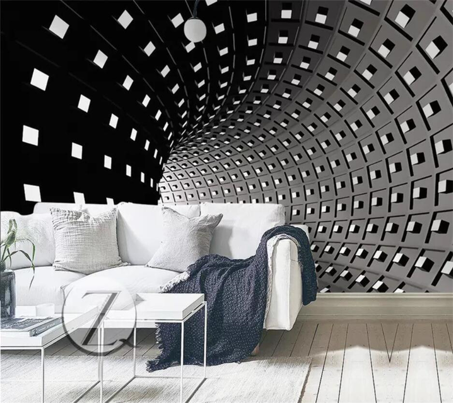 Wellyu Custom Wallpaper 3D Large Murals Black And White Time And Space Ramp Wallpaper TV Background Wall Papers Home Decor 3d