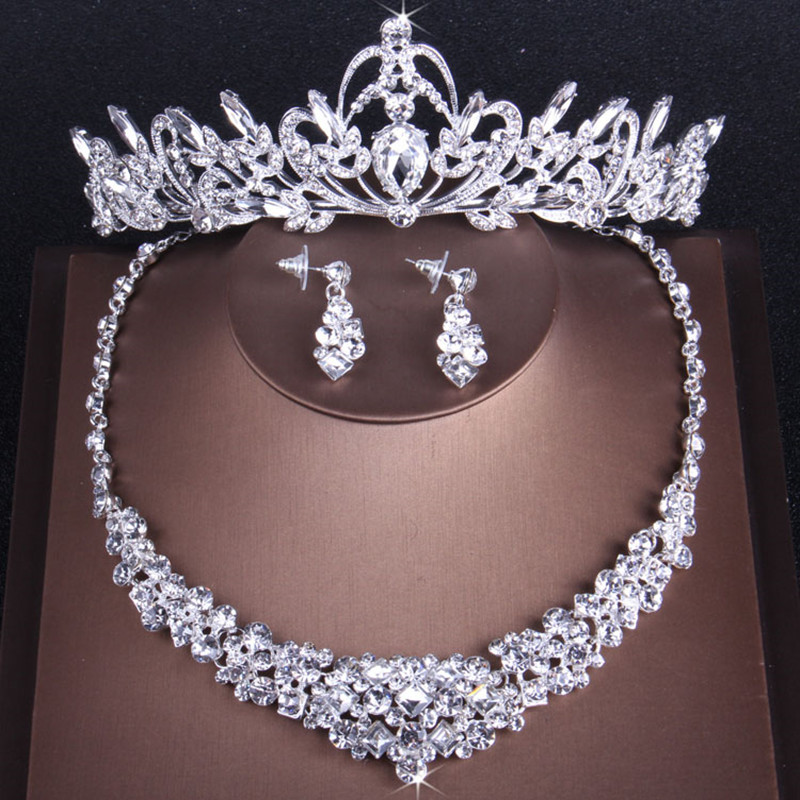 Bling Diamond Rhinestone Tiaras Hair Jewelry Set With Necklace Earrings 2018 Silver Wedding Party Crowns Headpieces For Women