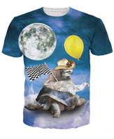 The Fast And The Furriest T-Shirt 3d Naimal Sloth And Tortoise Combo Printed T Shirt Space Tops Tees Women Men Summer 5XL