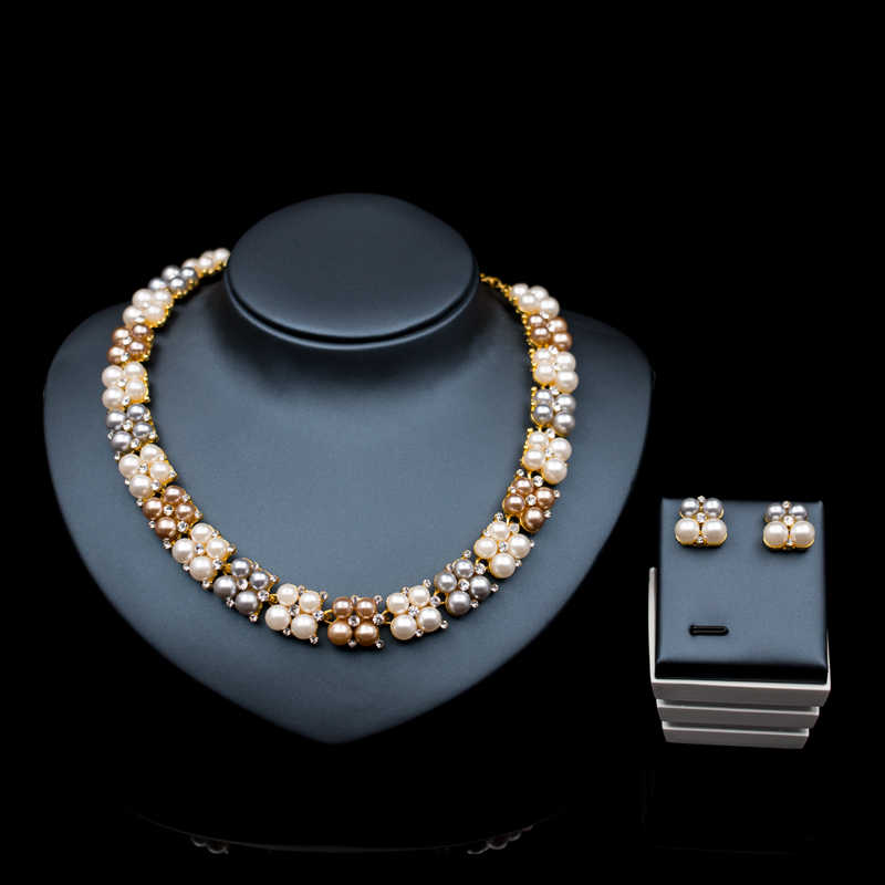 High quality african beads jewelry set for brides  gold color turkish simulated pearl necklace stud earring free shipping