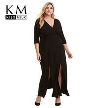 Kissmilk Plus Size Women Hollow Out Dress Ankle Length Solid Straight Half Sleeve V-Neck Slit Sexy Flowing Spring in Party sexy scoop neck sleeveless hollow out high slit plus size dress for women