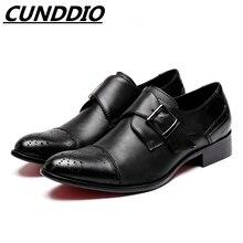 Cunddio Мужские модельные туфли из натуральной кожи Черный итальянской пряжкой модные деловые Мода Досуг туфли-оксфорды
