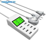 High Quality Universal LED Display EU US UK Plug 8 Port USB Power Charger Adapter For
