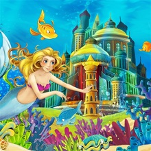Laeacco Cartoon Mermaid Party Photography Backdrops Custom Undersea Castle Children Photographic Backgrounds For Photo Studio