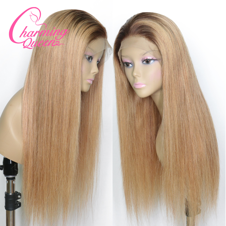 Lace Front Human Hair Wigs T4 27 Ombre Honey Blonde Straight Peruvian Remy Hair Lace Wigs