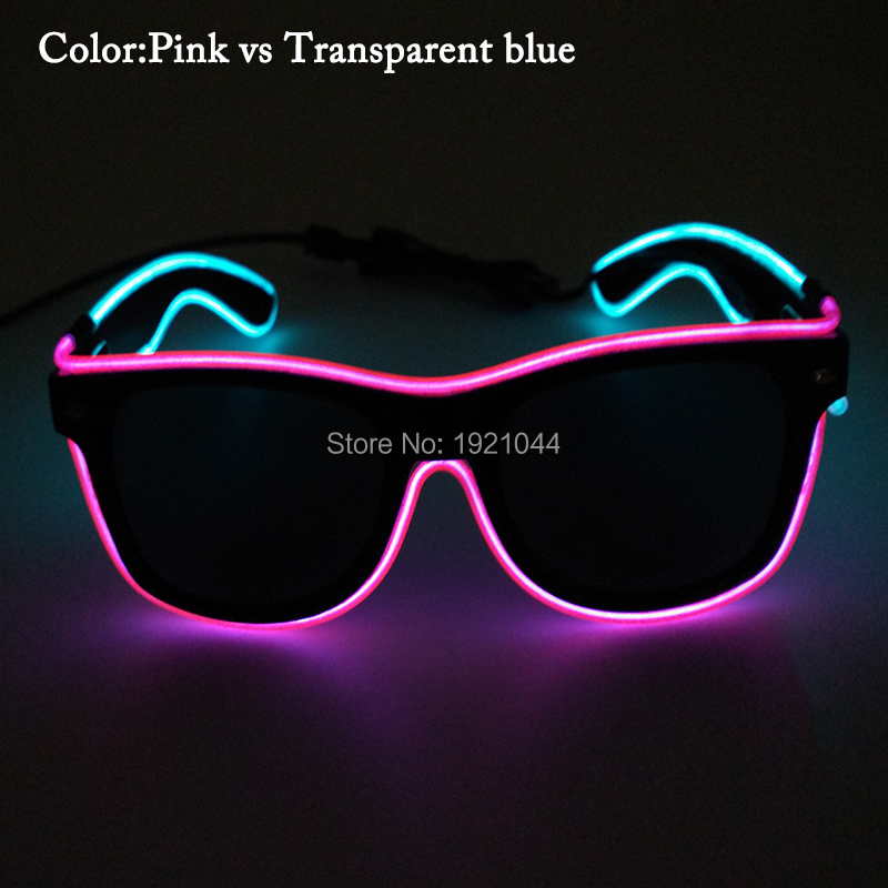 Cheap High quality 1piececs Double Color EL Wire Glasses with dark lens for Dance DJ Glow Party DIY Decoration Supplies