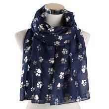 Модный фольгированный женский собачий шарф с лапами черный белый блестящий Блестящий серебряный шаль пляжные шарфы обертывания женский платок хиджаб