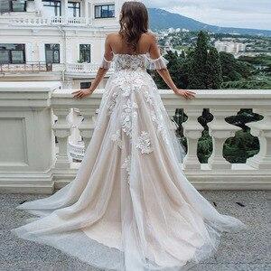 Image 2 - Eightal boho 웨딩 드레스 비치 아가씨 어깨 공주 웨딩 드레스 아플리케 레이스 tulle romatic bridal dress