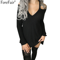ForeFair Black Khaki Long Sleeve Loose Knitted T Shirt Plus Size Women Tops Sexy Open Shoulder