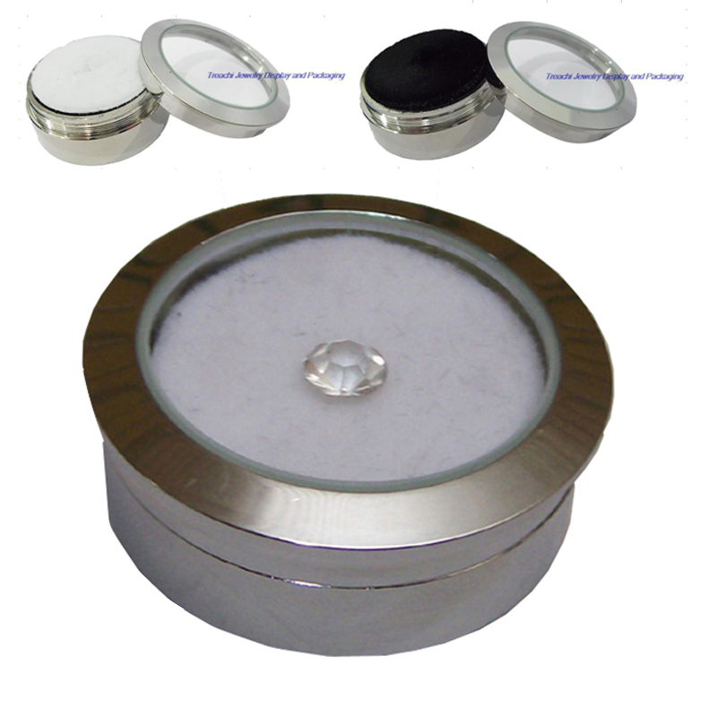 Wholesale Circle Round Diamond Display Box Stainless Steel Metal Gemstone Cases Diamond Jewelry Gift Stone Box  3.2*1.5(cm)
