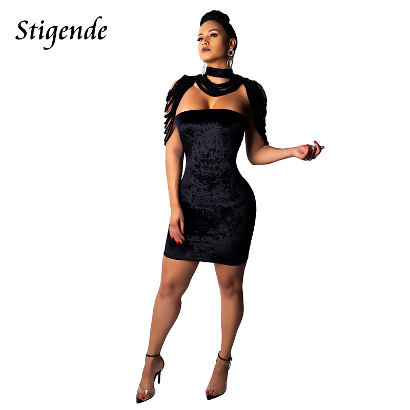a022eb6571 Stigende Sexy Sleeveless Party Velvet Mini Dress Women Strapless Bodycon  Slim Velour Dress Tassels Back Zipper Short Dresses