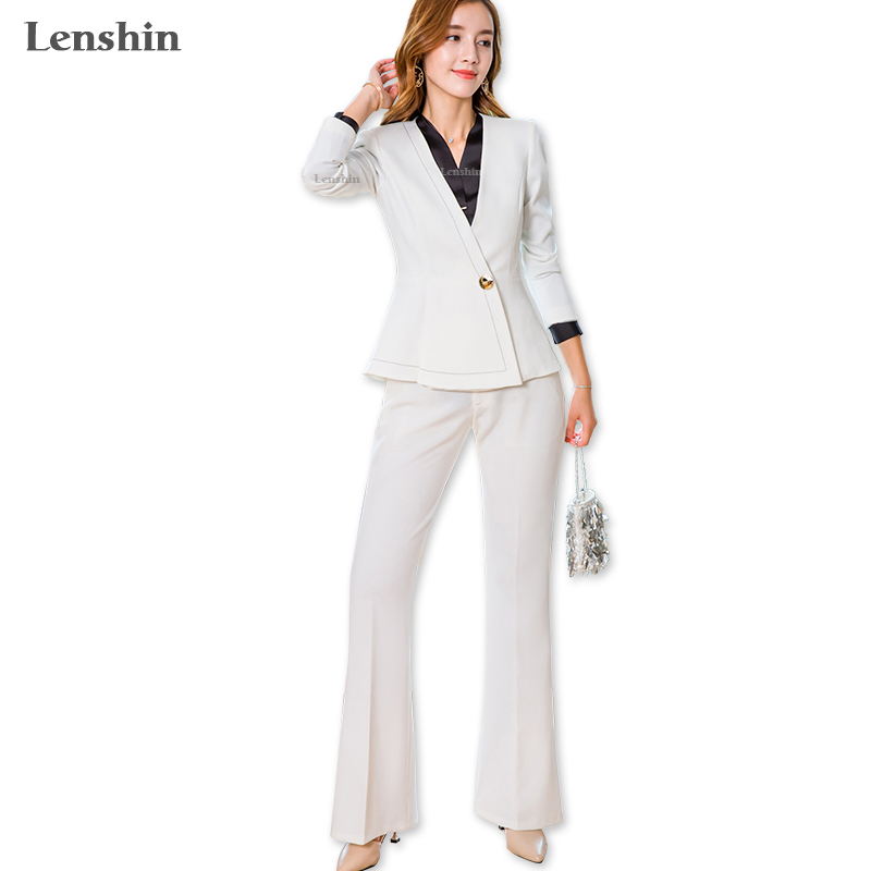 Lenshin 2 Pieces Set Women Formal Pant Suit Office Lady Fashion Style V Neck Jacket and