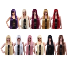 Top-Quality Synthetic Hair Wigs Rose Net Women Ultra Long Silky Straight Central Parting Synthetic Wigs with Bangs Colors Hair
