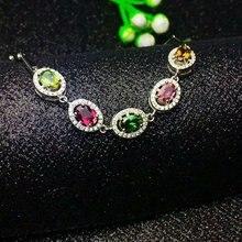 SHILOVEM 925 sterling silver Natural tourmaline bracelets classic fine Jewelry women wedding wholesale new ll040601agx