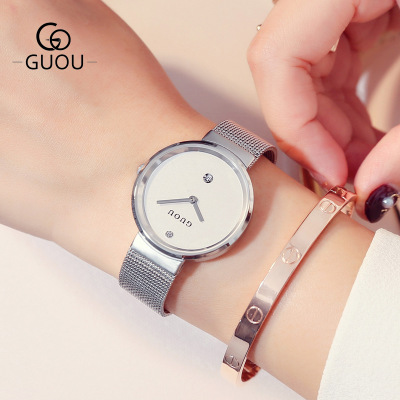New Fashion top luxury brand GUOU Watches Men Women Casual quartz-watch stainless steel mesh strap ultra thin dial clock Hot цены