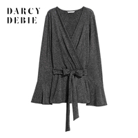 Darcydebie Brand Women Dark Grey Shirts Belt Waist Deep V Neck Long Sleeve Flare Sleeve Casual