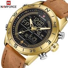 Для мужчин наручные часы naviforce Лидирующий бренд роскошные кожаные спортивные наручные часы для мужчин непромокаемые Военная Униформа кварцевые цифровые часы relogio masculino