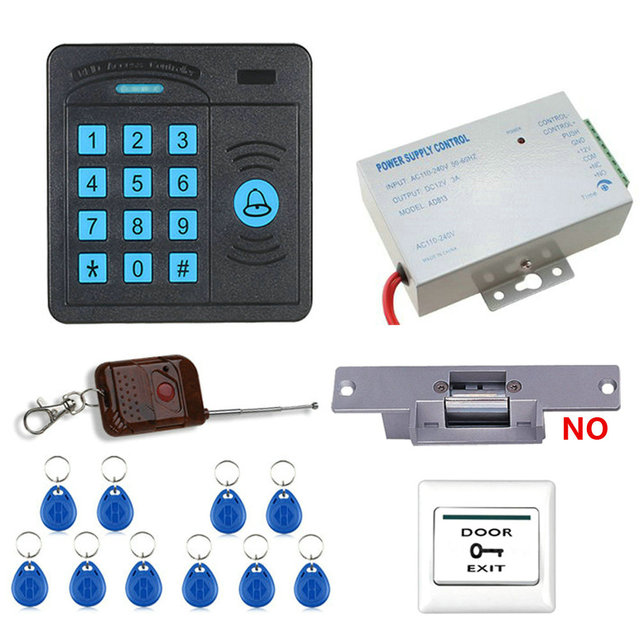 Door Access Control System Controller ABS Case RFID Reader Keypad Remote Control 10 ID cards Electric Strike Lock Free Shipping