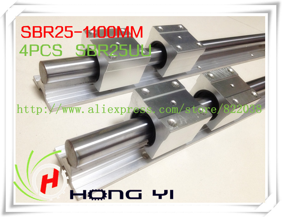 2 pcs SBR25 1100mm Linear Bearing Rails & 4 pcs SBR25UU Linear Motion Bearing Blocks free shipping 2 pcs sbr25 1000mm linear bearing supported rails 4 pcs sbr25uu bearing blocks sbr25 length 1000mm for cnc parts