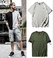 2017 Fashion Spring Summer Hip Hop Street Extended T-shirt Men Short Sleeve T shirt Men kanye west Solid Cotton Oversize T shirt