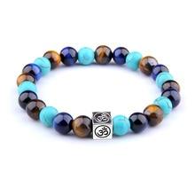 Vinswet Tiger Eye Blue  Beads 7.5 Bracelet Natural Round Elasticity Rope Men Women blue stone Beaded