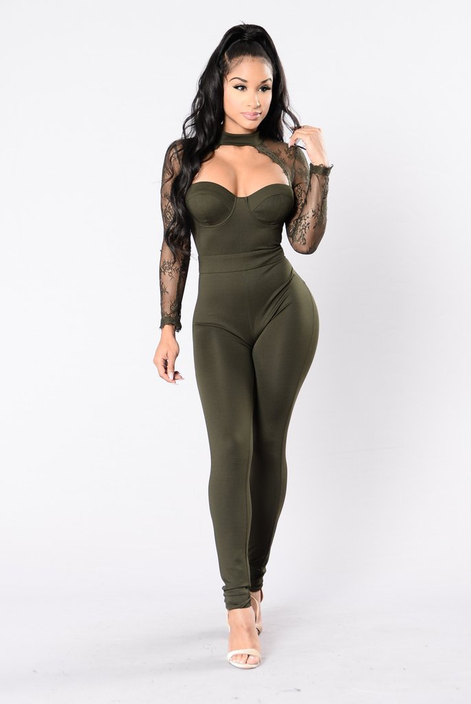 Elegant Jumpsuit Women Casual Long Sleeve Lace Patchwork Sexy V Neck Backless See Through Bodycon Women Jumpsuit Female Body
