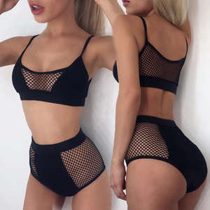 Female Swimwear Set 2017 Arriving Women Mesh Hollow Bikini Set Laides High Waist