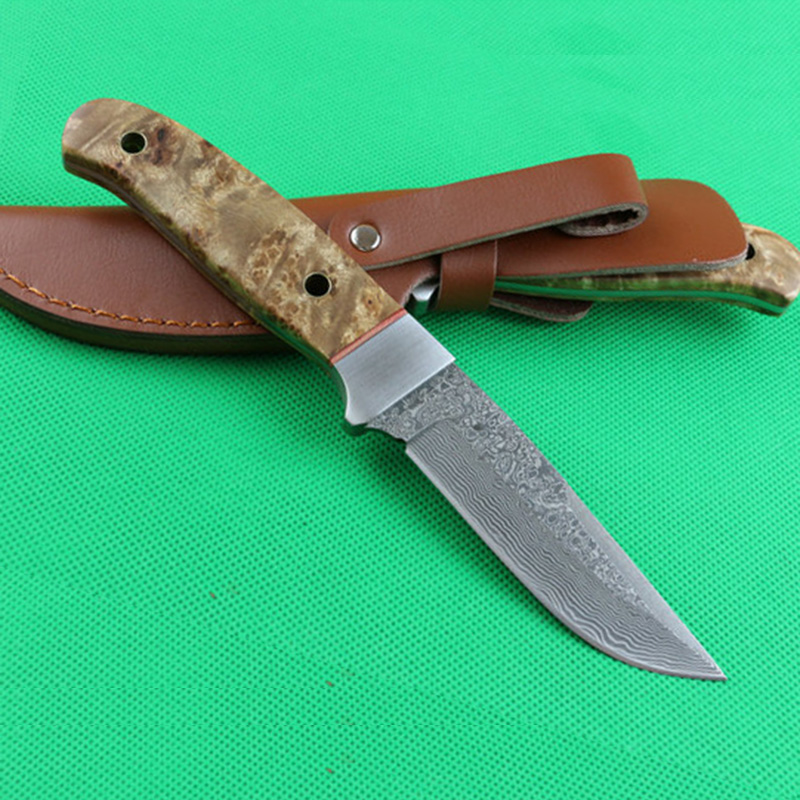 Mengoing Survival Straight Knife Damascus Steel Shadow Wood Handle Self-Defense Fixed Blade Knife Top QualityMengoing Survival Straight Knife Damascus Steel Shadow Wood Handle Self-Defense Fixed Blade Knife Top Quality