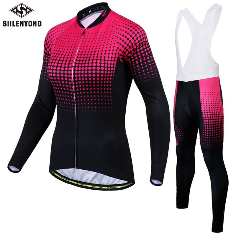 Siilenyond Women Pro Winter Thermal Fleece Cycling Jersey Set MTB Bicycle Cycling Clothes Keep Warm Bike